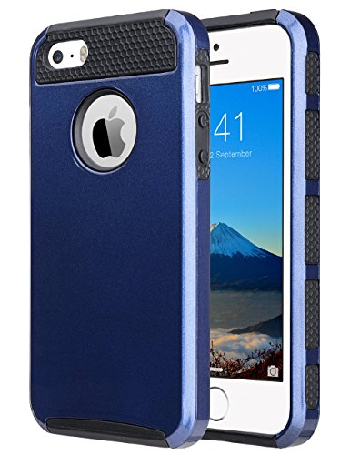 ULAK iPhone 5SE Case,iPhone SE Case, Slim Fit Dual Layer Protection Case Shock Absorbing Hard Rugged Ultra Protective Back Rubber Cover with Impact Protection for iPhone 5/5S/SE (Navy Blue+Black)