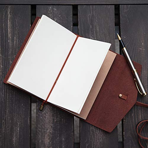LEATHER JOURNAL Writing Notebook,Refillable Handmade Traveler's Notebook,Antique Leather Diary for Men & Women,Perfect to write in, Travel Journal, Small Leather Notebook with Pen,Black by COMESONG (Image #6)