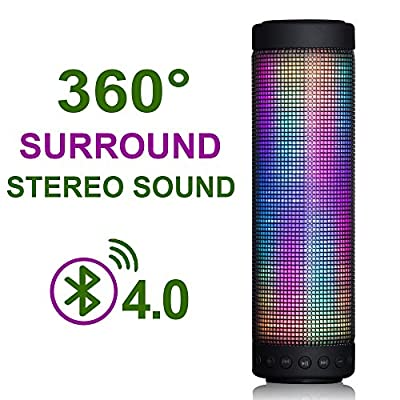 MUSIC ANGEL ® Portable Wireless Bluetooth Speaker Five LED Visual Display Mode 4.0 Technology Powerful Sound with Build in Microphone Rechargeable Battery Speakers for Indoor & Outdoor Use