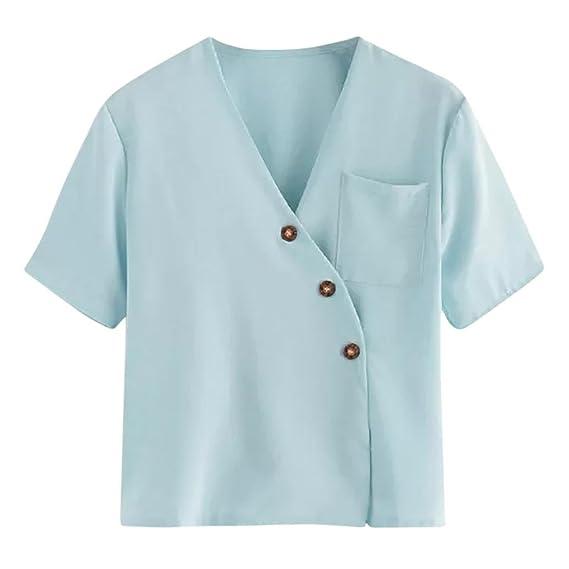 Yvelands Mujeres con Cuello en V Elegante Moda Hermosa Ocasional de Bolsillo Suelto con Botones Camiseta