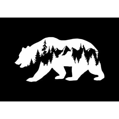 CCI Bear Mountains Adventure Wanderlust Decal Vinyl Sticker|Cars Trucks Vans Walls Laptop|White |7.5 x 3.75 in|CCI1814: Automotive
