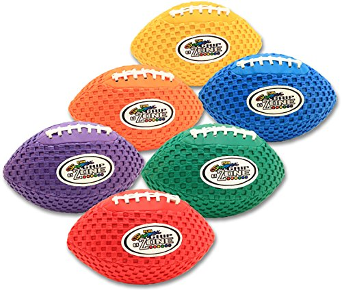 Fun Gripper 8.5 Inch Pee Wee Grip Zone (Solid) Color Footballs ( Set of 6) Assorted Colors by Fun Gripper
