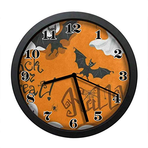 wojuedehuidamai6 Silent Wall Clock - Funny Halloween Bats Ghosts Spiders Web Art Wall Clock - Decorative Wall Clock for Home、Office and Cafe with 12in -