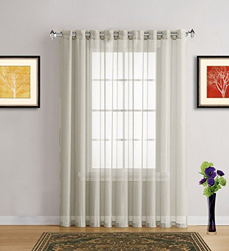 Warm Home Designs 1 Extra-Wide Light Beige Sheer Patio Curtain Panel 102 x 84 Inch Long with Grommets. Designed as Patio Door, Sliding Glass Door, or Room Divider Drape - K Patio Beige 84