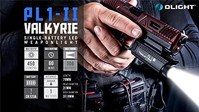 EdisonBright Olight PL1 II Valkyrie 450 lumen LED pistol light with CR123A lithium battery bundle