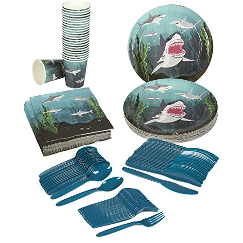 Cheapest Prices! Disposable Dinnerware Set - Serves 24 - Shark Theme Party Supplies - Includes Plast...