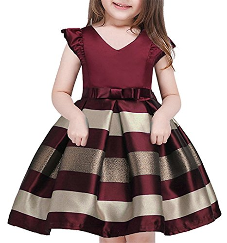 OURDREAM Flower Girls Ruffles Dresses Kids Summer Ball Gown Striped Easter Party Gorgeous Dress Sleeveless(Wine,100)