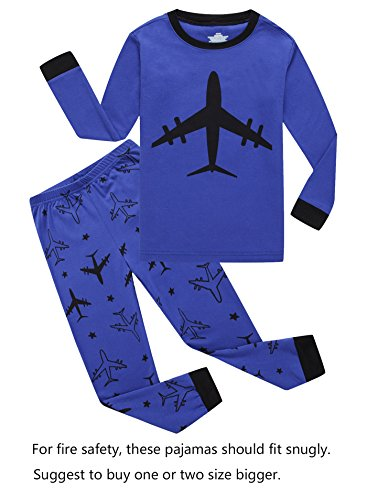 Plane Little Boys Long Sleeve Pajamas 100% Cotton Clothes Toddler Size 2T -