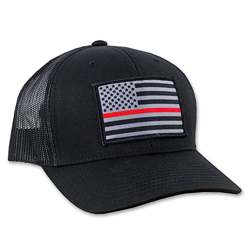 Thin Red Line American Flag Flexfit Hat - Mesh Snapback Trucker - Red Hat Flag