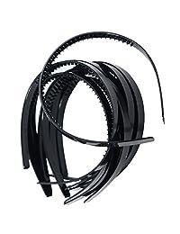 "Dovewill 10 Pieces 10mm/0.4"" Black Plastic Plain Flexible Alice Hair Bands Headbands"