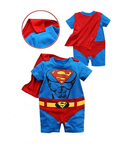 Rush Dance One Piece Super Hero Baby Muscle Superman Superboy Romper Onesie Cape (70 (0-6M), Red & Blue (Superman))
