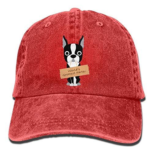 hanbaozhou Gorras béisbol World'S Greatest Boston Terrier Dog Denim Hat Adjustable Baseball Hats