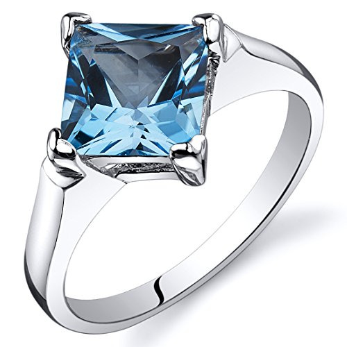 Swiss Blue Topaz Engagement Ring Sterling Silver Rhodium Nickel Finish 2.00 Carats Size 9