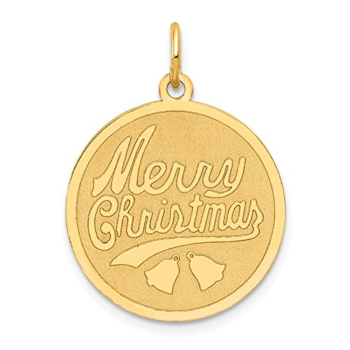 Solid 14k Yellow Gold Merry Christmas Disc Charm Pendant (25mm x 19mm)