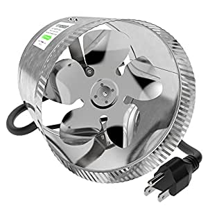 VIVOSUN 8 inch Inline Duct Booster Fan 420 CFM, Low Noise & Extra Long 5.5' Grounded Power Cord