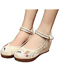 ZYZF Women Chinese Crane Embroidered Oxfords Rubber Sole Mary Jane Dance Flat Shoes