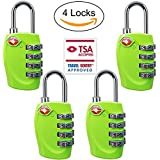 4 Dial Digit TSA Approved Travel Luggage Locks Combination for Suitcases (Green-4pack)