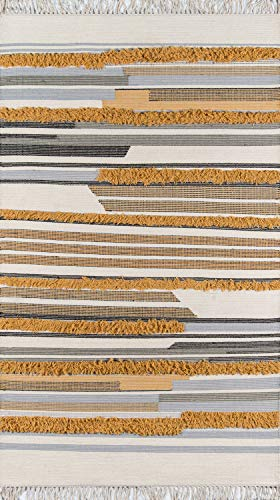 Novogratz by Momeni INDIOIND-6MST2030 Indio 100% Wool Hand Made Contemporary Area Rug, 2' X 3', Mustard