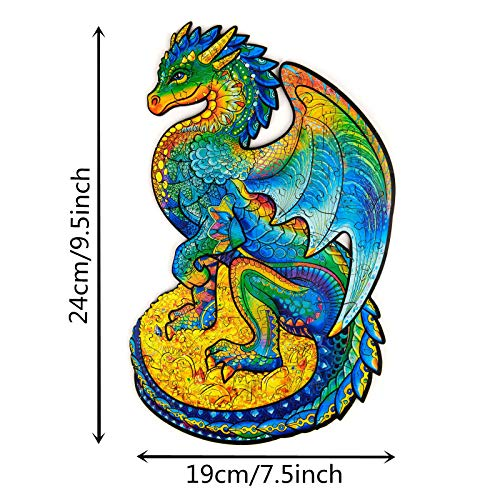 Puzzles Unique Shape Rainbow Dragon Puzzle for Kids and Adults Family Game Play Collection A Gift for Decorative