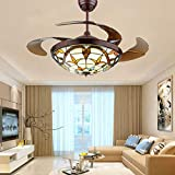 Retro Ceiling Fans with Led Lights Craftmade Tiffany Style Chandeliers Fixtures Pendant Lighting Remote Control - Folding Retractable Blades - Colorful Lamp - 3 Light colors - Silent Motor - 42IN