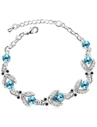 FLORAY Ladies Blue Firefly Bracelet, Beautiful Crystals, Sparkling Zircon, 18k White Gold Plated. Free Blue Jewellery Box.