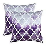 """Set of 2 CaliTime Cushion Covers Throw Pillow Shells Tie-Dyed Modern Geometric Style Quatrefoil 18"""" X 18"""" Gray to Purple"""