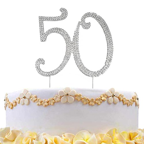 DreamsEden 50th Birthday Cake Topper - Crystal Rhinestone Wedding Anniversary Party Favors Decorations (50th/ Silver) -