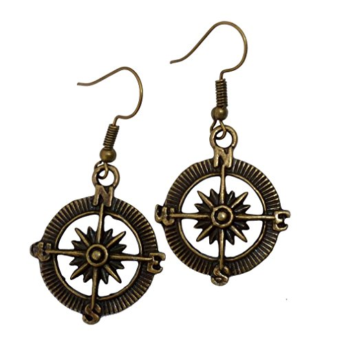 Pirate Earrings For Men (Steampunk Nautical Pirate compass earrings pendant charm dangle in Antique)