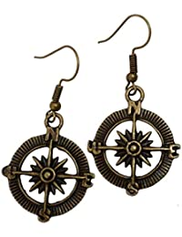 Steampunk Nautical Pirate compass earrings pendant charm by