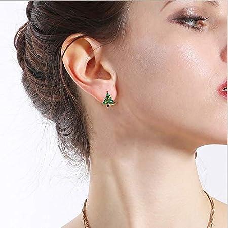 Blanco CAOLATOR Pendientes Forma de /Árbol de Navidad Pendientes Mujer de Diamante Cristal Decoraci/ón del Partido Aretes para el Accesorios de Joyer/ía