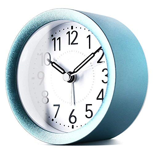 - TXL 4 inch Round Silent Sweep Analog Alarm Clock Non Ticking, Gentle Wake, Beep Sounds, Increasing Volume, Battery Operated Snooze and Light Functions, Easy Set Desktop Clock, Sparkly Blue
