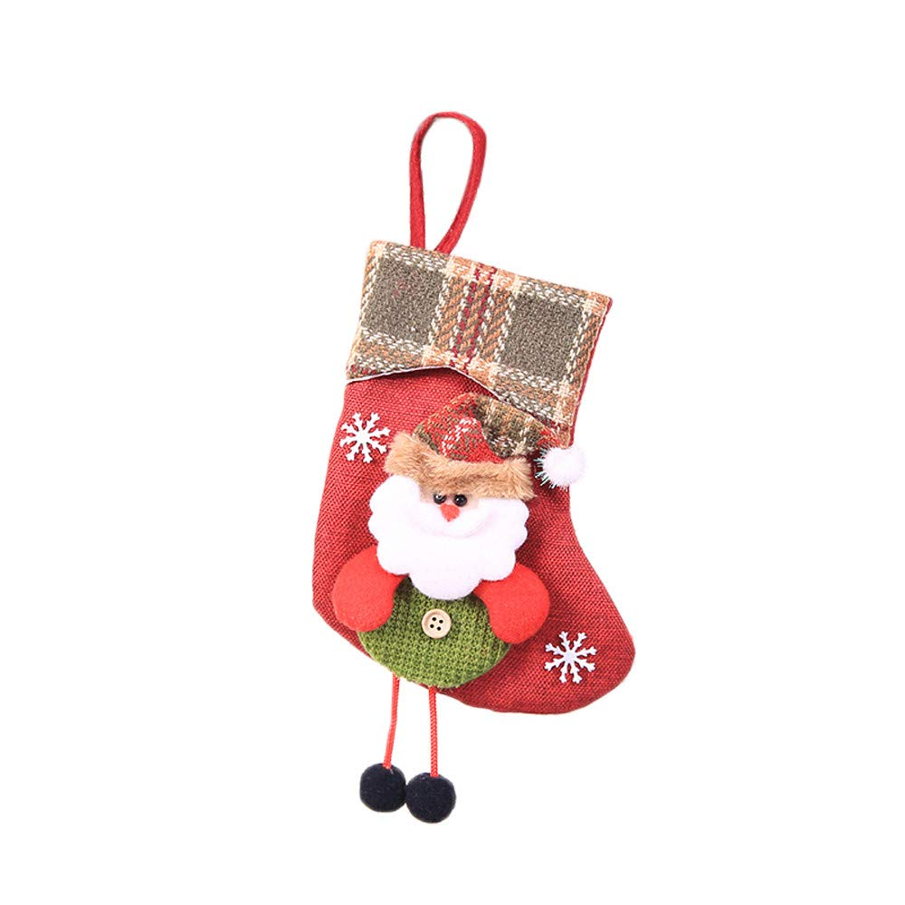 Liouhuble Christmas Stocking,Mini Sock Santa Claus Candy Gift Bag Xmas Tree Hanging Decor (Santa Claus)