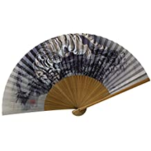 Japanese Crafted Hand Fans; Exotic Wood (Tiger)