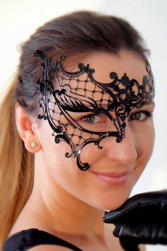 New Genuine Lady's Phantom Half Eye Mask with Elegant Diamonds For Venetian Masquerade Ball, Prom, Sweet 16 & Wedding Parties - New Old Lady Mask