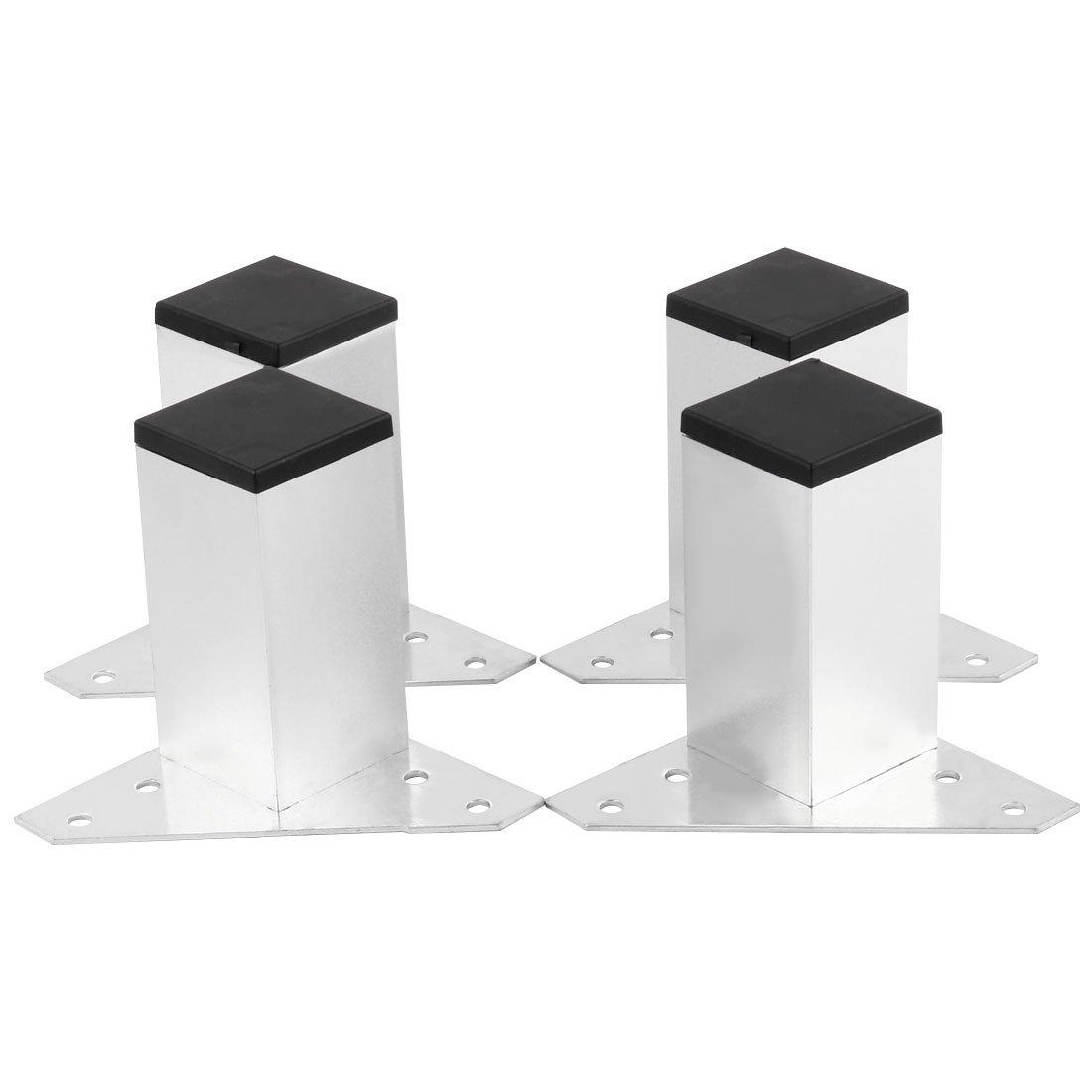 uxcell Aluminum Alloy Frame 4pcs Furniture Legs Feet Cabinet Sofa Desk Worktop Shelves Bed 78 x 78 x 79mm