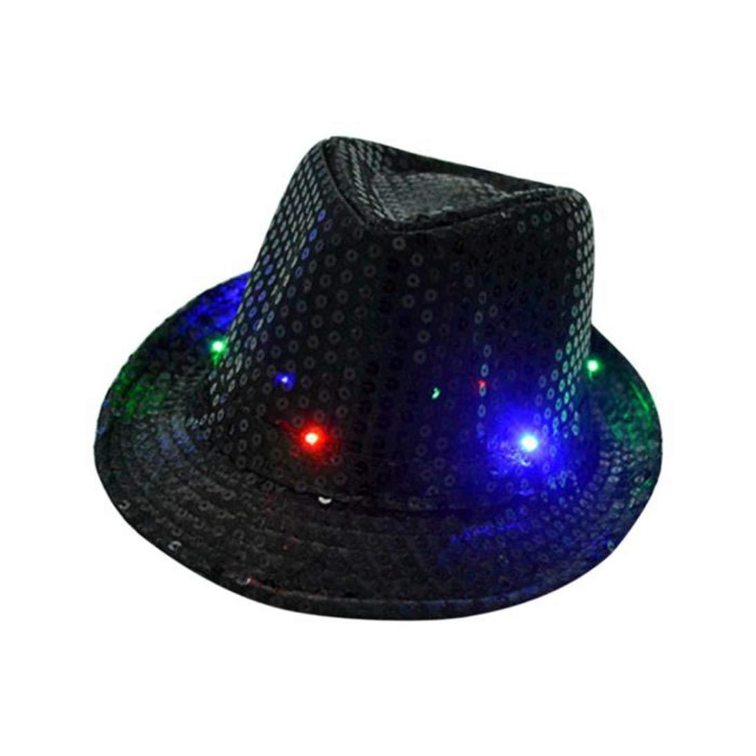 ASO-SLING Sequined Fedora Hat Unisex Men Women Short Brim Dance Jazz Hats Lightweight Masquerade Party Hat