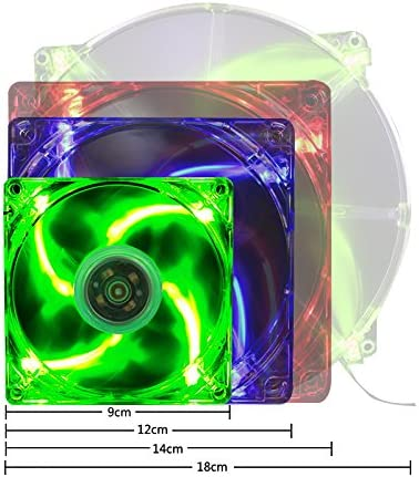 Feicuan 120mm Fluid Dynamic Bearing LED Low Noise Computer Case Cooling Fans Green,Pack of 2