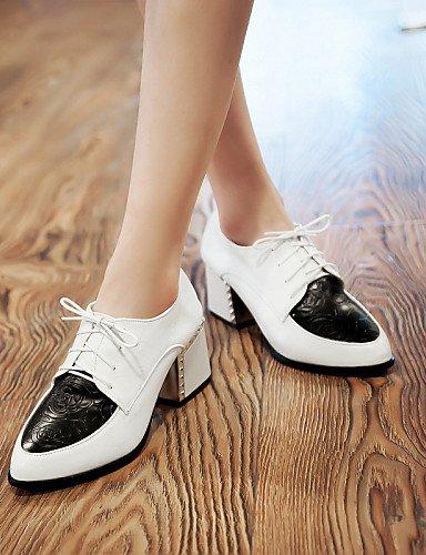 Large 5 Outdoor Eu41 8 Scarpe piedi Heels Heel Ufficio White Njx Hug 5 10 in Uk7 us9 da donna di occasionale Cn42 e Toe Bianco lavoro Black punta 4xPFg
