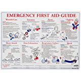 "Brady PS128E 18"" Height, 24"" Width, Laminated Paper, Black, Red, Blue On White Color Prinzing First Aid Training Poster, Legend ""Emergency First Aid Guide"""