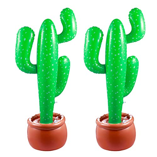 Blow Up Cactus (TOYMYTOY 2pcs Jumbo 3ft Inflatable Cactus - Western Party Decoration, Summer)