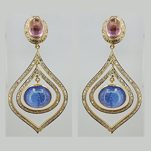 - 1.61 Ct Pave Natural Diamond Solid 18k Yellow Gold Gemstone Tanzanite Tourmaline Dangle Earrings Designer Jewelry