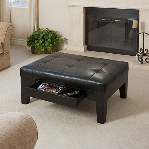 Leather Top Coffee Table - Tucson Espresso Leather Tufted Top Coffee Table w/Drawer