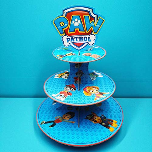 (Astra Gourmet Paw Patrol Cupcake Tower/Cardboard Cupcake Stands - 3 Tier Dessert Cupcake Tree Display Stand - For Baby Showers, Birthday Party)