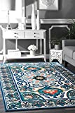 Cheap nuLOOM Traditional Vintage Tone Floral Printed Area Rugs, 2′ x 3′, Blue