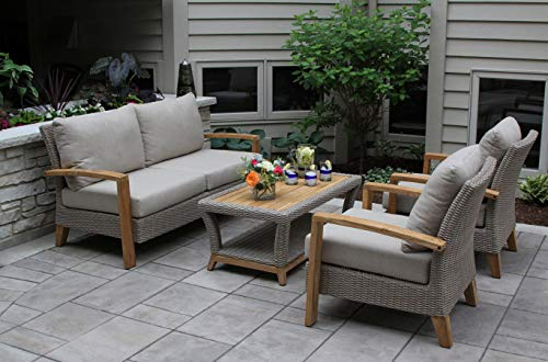 Patio Conversation Set. Furniture Kit Of Aluminum, Wicker, Natural Teak Wood For Fire Pit, Porch, Deck, Lawn, Pool, Garden, Chat, Seating 4 Person. Outdoor Loveseat, Chairs, Coffee Table, Cushions (Teak Plantation Frame)