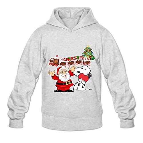 GYKU Men's Merry Christmas Snoopy Long Sleeve Hooded Sweatshirt Size L Ash,100% Organic Cotton (Merry Christmas Lil Wayne)