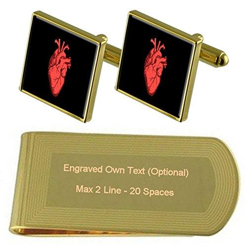 Gift Human Engraved Money Heart Clip tone Gold Cufflinks Set v0xq460Zw