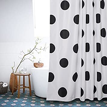 Polka Dot Washable Fabric Shower Curtain Mold Resistant Black And White,72  X 72in