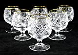 SET of 6 Russian Cut Crystal Cognac Scotch Whiskey Stemmed Snifter Goblet Glass, 24K Gold Rimmed 5 Oz. Vodka Liquor Old-fashioned Glassware Hand Made