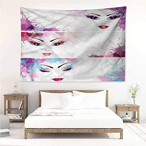 Sunnyhome Tapestry for Living Room,Modern Glam Woman Face Makeup Blots,Bedspread Yoga Mat Blanket,W90x59L ()